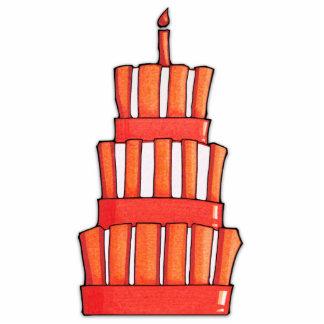 Escultura rayada anaranjada de la foto de la torta fotoescultura vertical