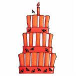 Escultura rayada anaranjada de la foto de la torta esculturas fotográficas