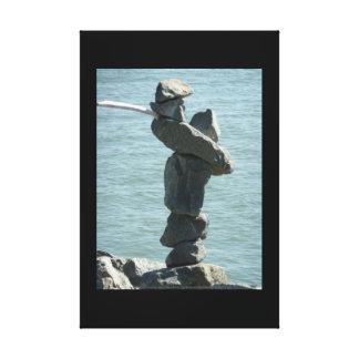 Escultura salada de la roca del perro lienzo envuelto para galerías