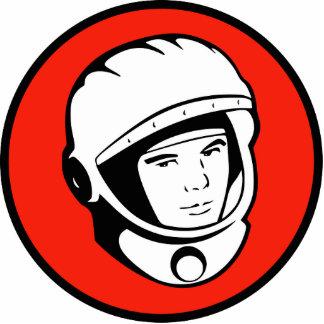 Escultura soviética roja del cosmonauta fotoescultura vertical