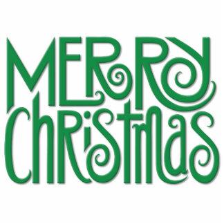 Escultura verde de la foto de las Felices Navidad Fotoescultura Vertical