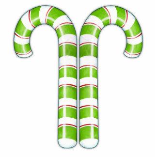 Escultura verde de los bastones de caramelo fotoescultura vertical