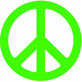 Escultura verde de neón del símbolo de paz escultura fotográfica