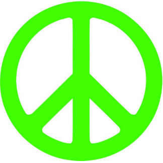 Escultura verde de neón del símbolo de paz fotoescultura vertical