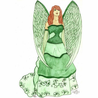 Escultura verde del ángel fotoescultura vertical