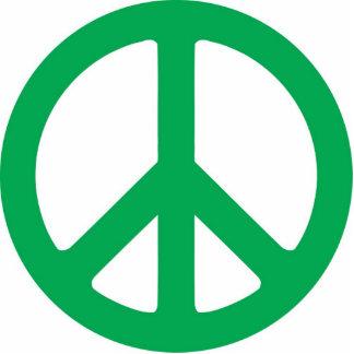 Escultura verde oscuro del símbolo de paz fotoescultura vertical
