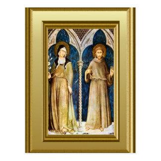 Esculturas de St Clare y St Francis Assisi Postal
