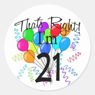 Ése correcto que soy 21 - cumpleaños pegatina redonda
