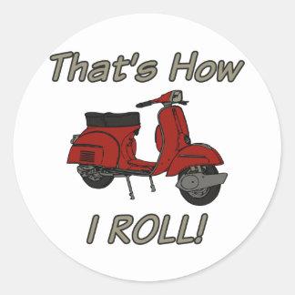 Ése es cómo ruedo el ciclomotor pegatina redonda
