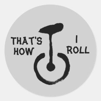 Ése es cómo ruedo pegatina redonda