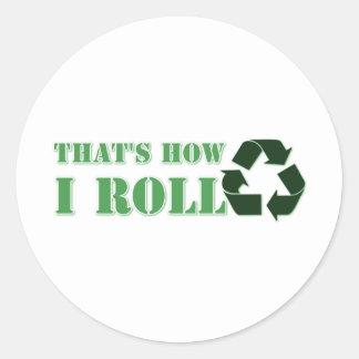 Ése es cómo ruedo reciclo diseño pegatina redonda