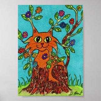 ¡Ese gato de Bloomin! Arte popular de la mini Póster