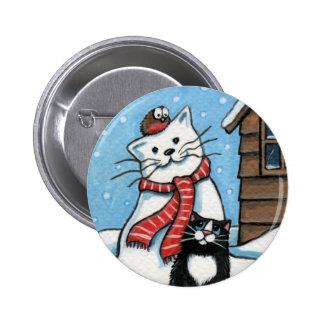 Ese petirrojo molesto - botón del arte del gato de pin redondo de 2 pulgadas