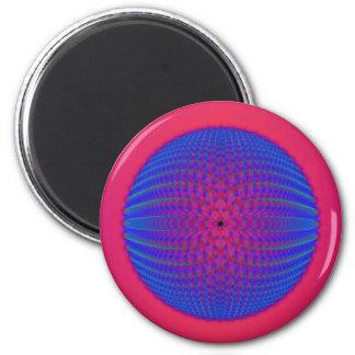 Esfera azul en el imán rosado