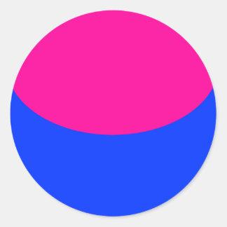 Esfera azul rosada pegatina redonda