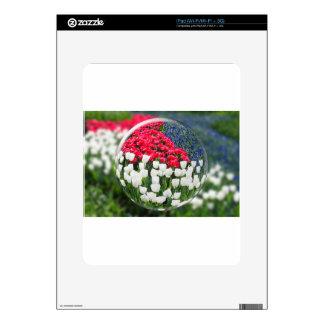 Esfera de cristal que refleja tulipanes y el azul iPad calcomanías