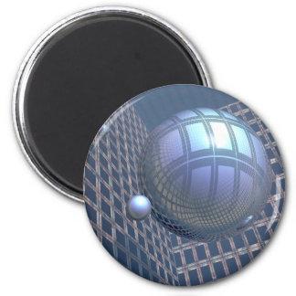 Esferas azules enmarcadas en espacio imán redondo 5 cm