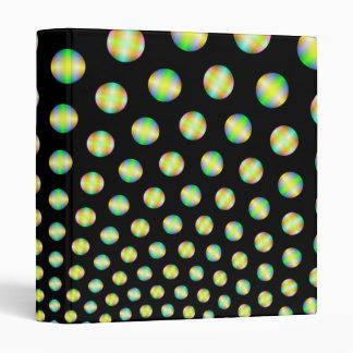Esferas de neón en carpeta negra