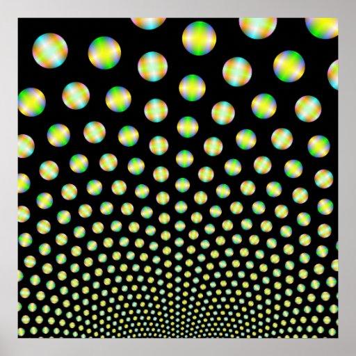 Esferas de neón en el poster negro