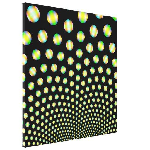 Esferas de neón en la impresión negra de la lona impresiones en lona