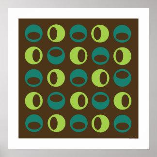 Esferas retras en el poster cuadrado de Brown