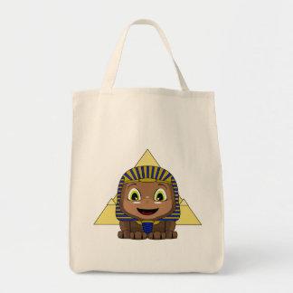 Esfinge de Chibi con las pirámides Bolsa Tela Para La Compra