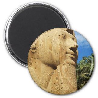 Esfinge de la piedra caliza (o alabastro del `') - imán redondo 5 cm