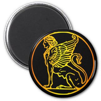 Esfinge del oro imán redondo 5 cm