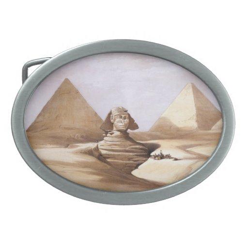 Esfinge delante de las pirámides hebilla de cinturon oval