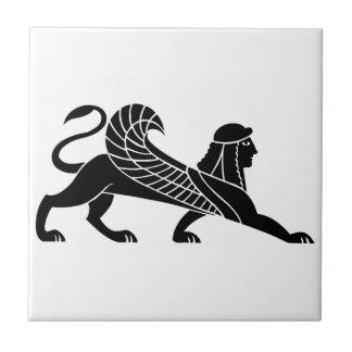 Esfinge diseño griego del alivio azulejo cerámica