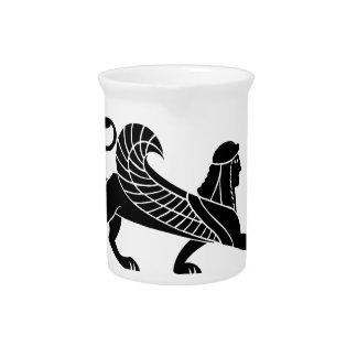 Esfinge, diseño griego del alivio jarra de beber