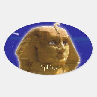Esfinge egipcia antigua en el diseño del arte de pegatina ovalada