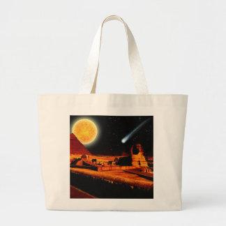 Esfinge y luna sobre el regalo del arte de las bolsa tela grande