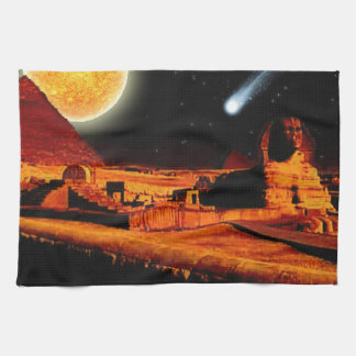 Esfinge y luna sobre el regalo del arte de las pir toalla de cocina