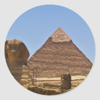 Esfinge y pirámide pegatina redonda