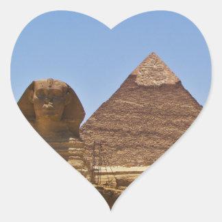 Esfinge y pirámide pegatinas de corazon personalizadas