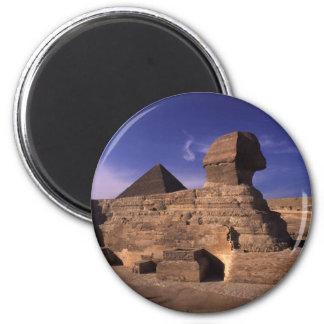 Esfinge y pirámides en Giza El Cairo Egipto Imán Redondo 5 Cm