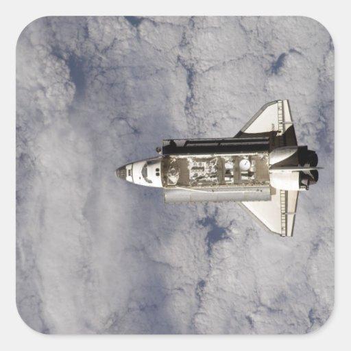 Esfuerzo 6 del transbordador espacial pegatina cuadrada