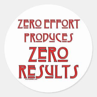 Esfuerzo cero… pegatina redonda