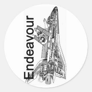 Esfuerzo del transbordador espacial pegatina redonda