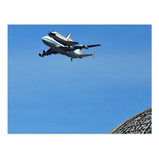 Esfuerzo del vuelo de transbordador sobre la posta tarjetas postales