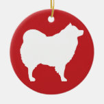 Eskie on Red Ornament