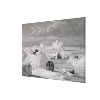 Eskimaux building a Snow-Hut, from 'Journal of a S Canvas Print