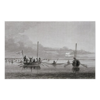 Eskimaux Coming Towards Boats in Shoalwater Poster