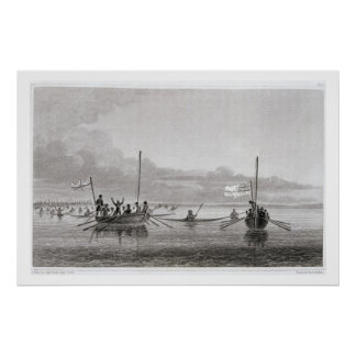 Eskimaux Coming Towards the Boats in Shoalwater Ba Poster