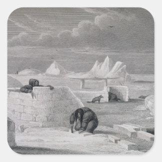 Eskimaux que construye una Nieve-Choza, del Pegatina Cuadrada