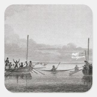 Eskimaux que viene hacia los barcos en Shoalwater Colcomanias Cuadradases