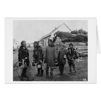 Eskimo Berry Pickers in Nome, Alaska Photograph Greeting Cards
