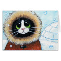 Eskimo Cat and Igloo | Animal Art Note Card