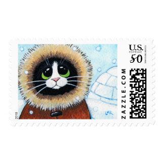 Eskimo Cat and Igloo Animal Art Postage